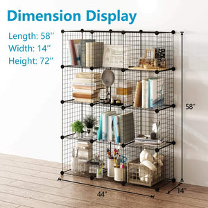 Best seller  tespo wire cube storage shelves book shelf metal bookcase shelving closet organization system diy modular grid cabinet 12 cubes