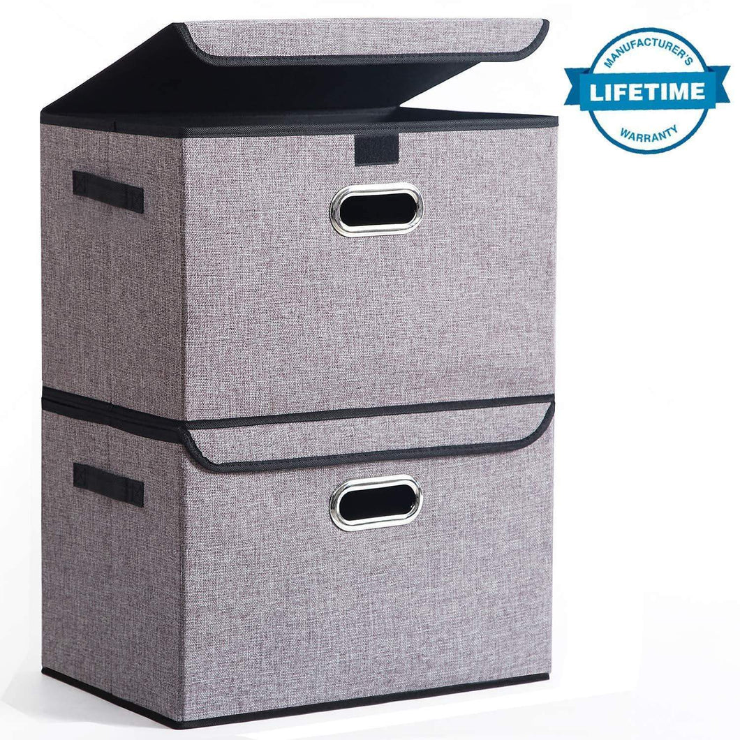 Buy seckon collapsible storage box container bins with lids covers2pack large odorless linen fabric storage organizers cube with metal handles for office bedroom closet toys