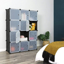 Load image into Gallery viewer, Organize with songmics cube storage organizer 12 cube closet storage shelves diy plastic closet cabinet modular bookcase storage shelving with doors for bedroom living room office black ulpc34h