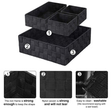 Load image into Gallery viewer, Discover the kedsum woven storage box cube basket bin container tote cube organizer divider for drawer closet shelf dresser set of 4 black