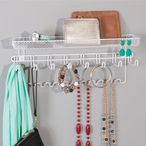 Save mdesign decorative metal closet wall mount jewelry accessory organizer for storage of necklaces bracelets rings earrings sunglasses wallets 8 large 11 small hooks 1 basket 2 pack white
