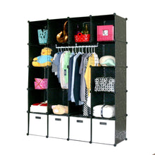 Load image into Gallery viewer, Heavy duty unicoo multi use diy plastic 20 cube organizer bookcase storage cabinet wardrobe closet black with white door deeper cube