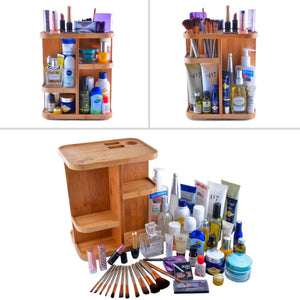 Latest refine 360 bamboo cosmetic organizer multi function storage carousel for your vanity bathroom closet kitchen tabletop countertop and desk