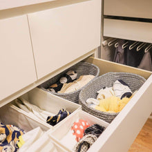 Load image into Gallery viewer, Discover the goodpick cute cotton rope basket dresser baskets drawer baskets organizer nursery closet storage foldable cloth storage box underwear organizer drawer divider 12 7 5 set of 2