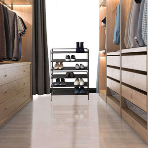 Products seville classics 3 tier stackable 9 pair woodgrain resin slat shelf sturdy metal frame shoe storage rack organizer 2 pack perfect for bedroom closet entryway dorm room espresso