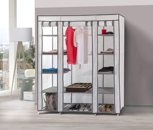 Order now dream palace portable fabric wardrobe with shelves covered closet rack with bonus sock organizer hanger pack extra wide 59 white