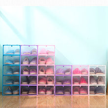 Load image into Gallery viewer, Foldable Clear Plastic Shoe Case Storage Organizer Stackable Tidy Box