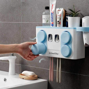 Smart Toothbrush Holder Wall Mounted Toothpaste Squeezer Dispenser with Cups Storage Organizer
