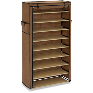 10-Tier Shoe Rack Storage Organizer w/ Cover