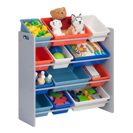 Kids Toy Storage Organizer with Plastic Bins, Gray