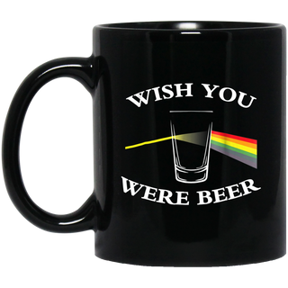 Wish You Were Beer Black Mug