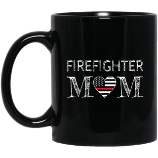 Firefighter Mom Mother Support the Thin Red Line Flag Son Black Mug