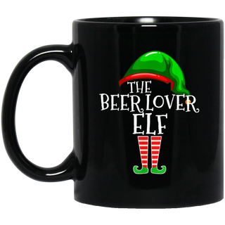 Beer Lover Elf Group Matching Family Christmas Gift Black Mug