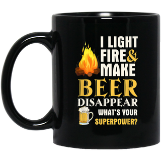 I Light Fires Make Beer Disappear Camping Black Mug