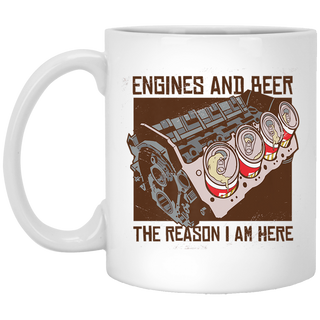 Engines And Beer - Why I Am Here White Mug