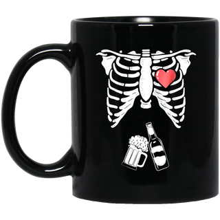 Skeleton Beer Xray Pregnancy Announcement Dad Black Mug