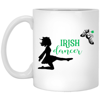 Girl Irish Dancer Patricks Day White Mug