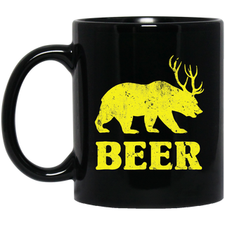Vintage Bear Deer Beer Black Mug