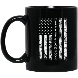 Raisin Hell With The Hippies And Cowboys - American Flag Black Mug