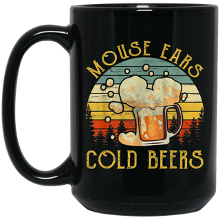 Vintage Retro Mouse Ears And Cold Beers Black Mug
