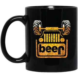 Wrecked Jeep Beer Black Mug