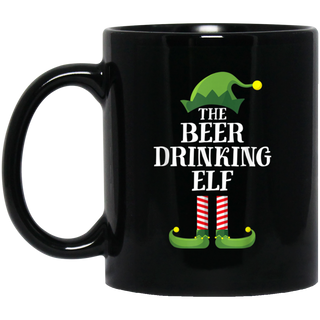 Beer Drinking Elf Matching Family Group Christmas Party PJ Black Mug