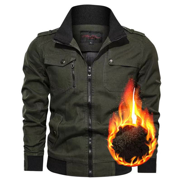Men's plus size stand collar multi-pocket jacket