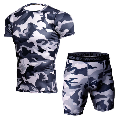 Camouflage T-shirt suit men's short-sleeved t-shirt + shorts