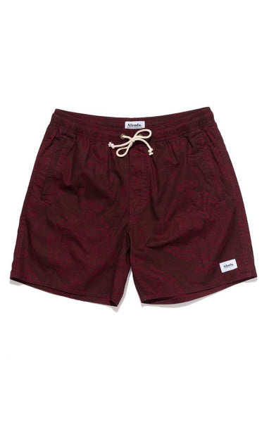 Afends - Baywatch Ornaments Elastic Waist Swimshort - Oxblood