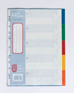 LIONFILE A4 5 COLOURED tab Index Dividers 0.13mm PP