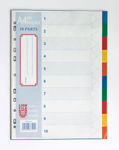 LIONFILE A4 10 COLOURED tab Index Dividers 0.13mm PP