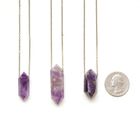 Amethyst Double Point Necklace