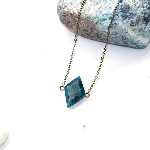 Apatite Diamond Necklace - Natural Gemstone Jewelry
