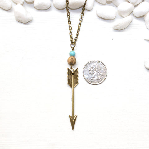 Arrow, Jasper, and Turquoise Necklace - Southwestern Boho Jewelry