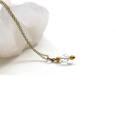 Crystal Quartz Drop Necklace - Natural Gemstone Jewelry