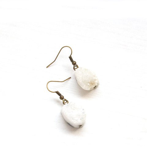 Crystal Quartz Druzy Earrings - Natural Gemstone Jewelry