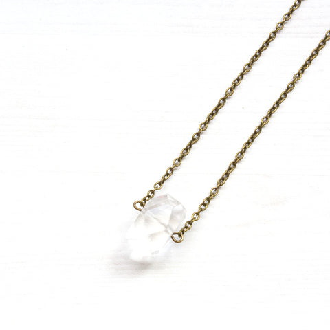 Geometric Crystal Quartz Necklace - Natural Gemstone Jewelry