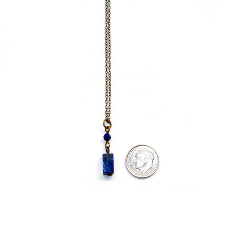 Lapis Lazuli Tiny Drop Necklace - Natural Gemstone Jewelry