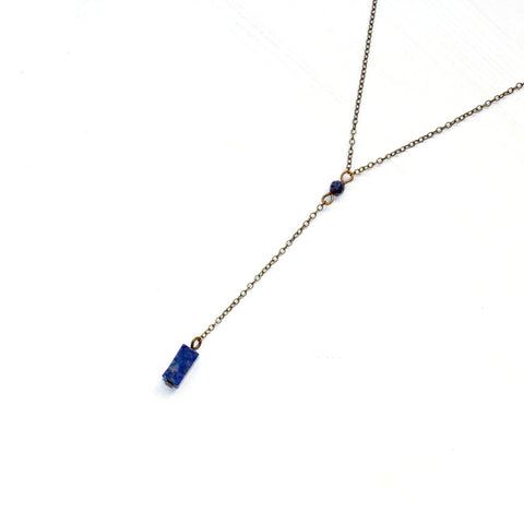 Lapis Lazuli Y Necklace - Natural Gemstone Jewelry