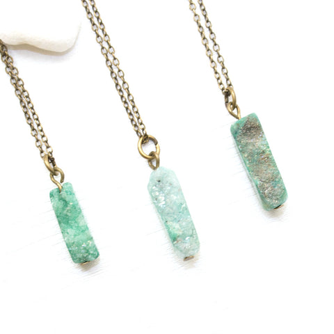 Mini Green Druzy Necklace - Natural Gemstone and Raw Crystal Jewelry