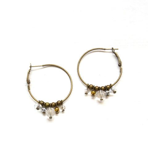 Multi Gem Earrings Hoop Earrings - Natural Gemstone Jewelry