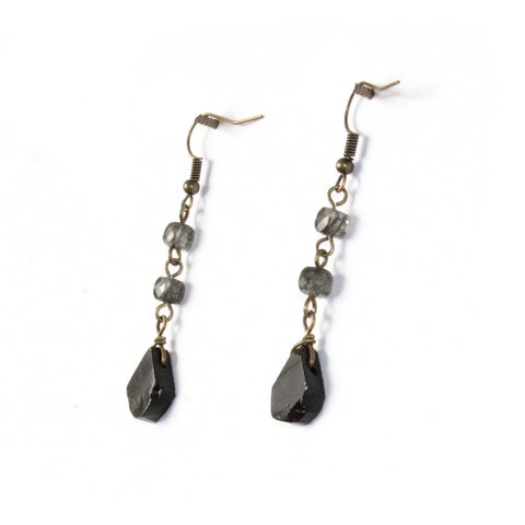 Black Tourmaline Drop Earrings - Raw Crystal Jewelry