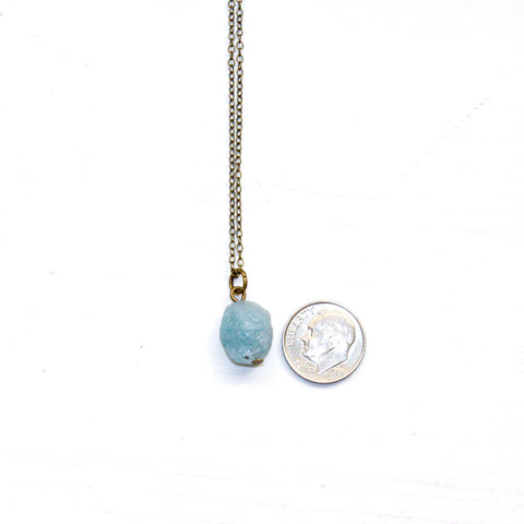 Raw Aquamarine Necklace - Natural Gemstone Jewelry