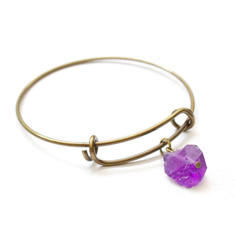 Raw Amethyst Bangle Bracelet - Raw Crystal Jewelry