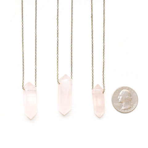 Rose Quartz Double Point Necklace - Natural Gemstone Jewelry