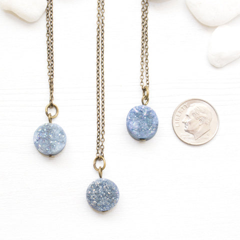 Mini Round Blue Druzy Necklace - Natural Gemstone and Raw Crystal Jewelry
