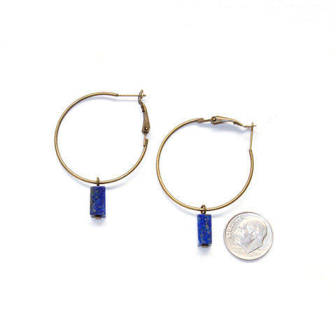 Tiny Lapis Lazuli Hoop Earrings - Natural Gemstone Jewelry