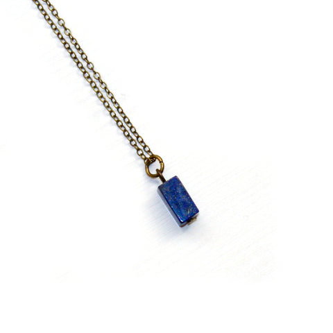 Tiny Lapis Lazuli Necklace - Natural Gemstone Jewelry