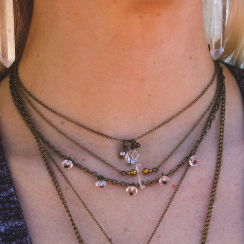 Triple Bead Drop Choker - Natural Gemstone Jewelry
