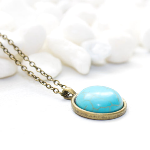Turquoise Gemstone Necklace - Natural Gemstone Jewelry